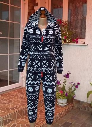 (11-12 лет) флисовый толстый комбинезон пижама кируми