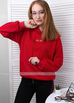 Худи красного цвета оверсайз объемный свитшот с вышивкой oh yes