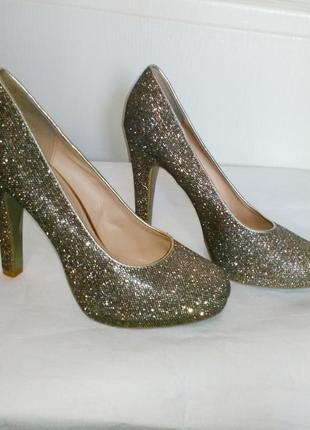 Graceland туфли бежевые  мерцающие