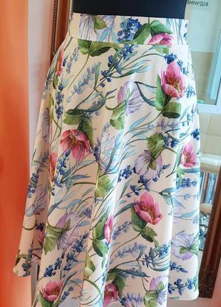 Юбка полусолнце с цветочным принтом