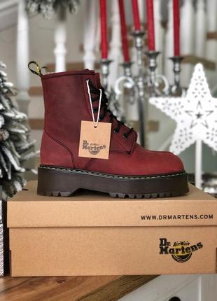Шикарные ботинки dr martens jadon бордовые