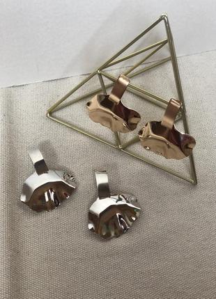 Геометрические серьги серебро и золото