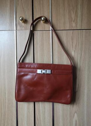 Маленькая коричневая кожаная сумка 100% натуральная кожа