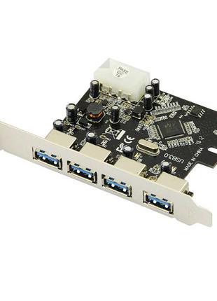 Плата расширения PCI-E на 4 х USB 3.0 с питанием molex 5 Гбит/...
