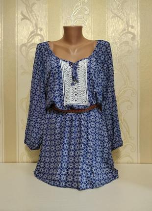 Блуза с длинным рукавом и кружевом, вискоза, esmara.