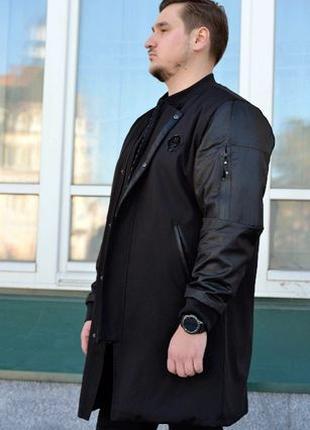 Бомбер мужской удлиненный куртка пальто френч 46 48 50 52