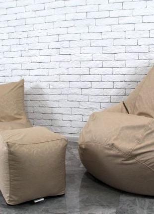 Набор бескаркасное кресло груша мешок, диван, пуфик XL. Мягкая...
