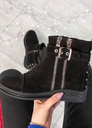 ❤ женские черные зимние замшевые  ботинки сапоги ботильоны на ...