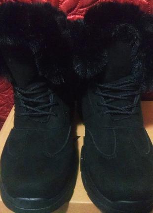 Зимние теплющие черные женские ботиночки  на меху - нубук.