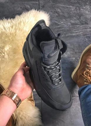 Nike air max 90 full black мужские чёрные кроссовки найк, евро...
