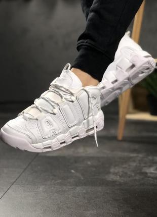 Шикарные кроссовки nike air more uptempo white on white унисек...