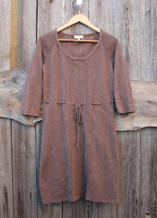 Красивое хлопковое вязаное платье с пояском