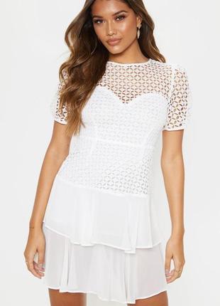 Ликвидация товара 🔥  белое мини платье с кружевным верхом и об...