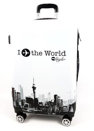 Пластиковый чемодан с I planet the world на колесах, с 3D 60 л...