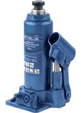 Домкрат гидравлический бутылочный, 4 т, h подъема 194–372 мм S...