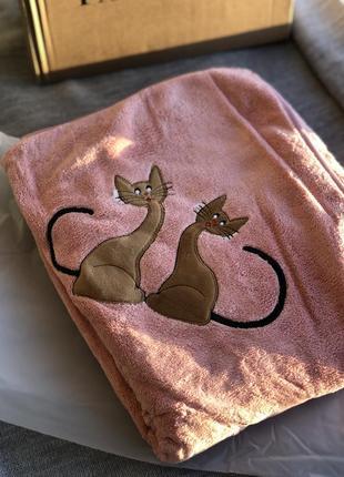 Яркий новый розовый плед с котами для ребенка, махровое покрывало