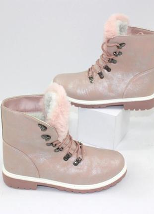 Женские зимние розовые пудровые ботинки с мехом на шнуровке ни...