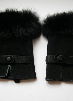 Митенки натуральная замша с натуральным мехом, цвет-черный