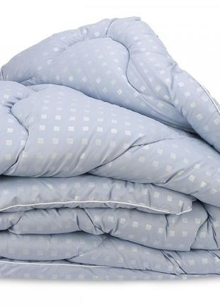 Одеяло Лебяжий Пух Leleka-Textile Евро 200х220 Голубое в квадр...