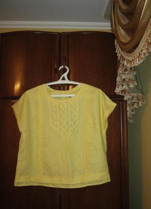 Блуза оверсайз marks&spencer, 100% лен, размер 16/44, новая с ...