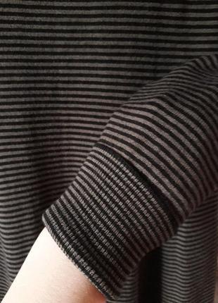 Теплое вязаное платье zara миди в принт полоску демисезон зима...