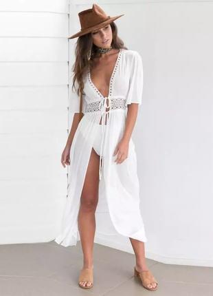 Женское легкое платье, пляжная туника, белый цвет m, l