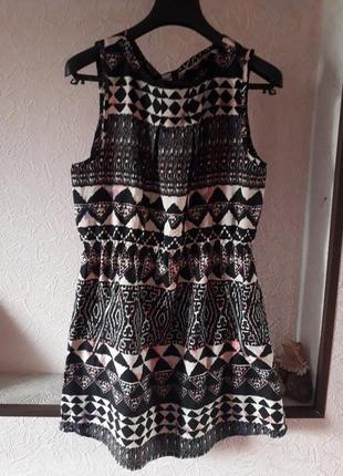 Женское шифоновое платье в геометрический принт лето весна с к...