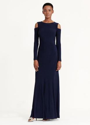 Нарядное платье макси ralph lauren синее с вырезами в области ...