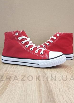 Красные кеды конверсы высокие на шнурках летние кеды сетка тек...