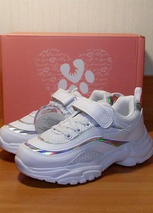 Белые гламурные кроссовки для девочки модные том
