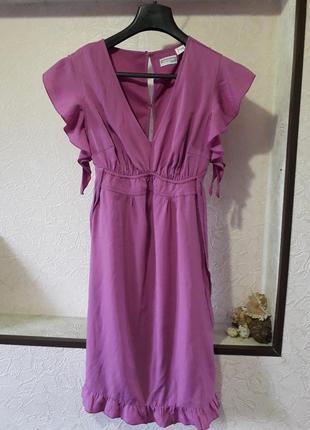 Женское нарядное шифоновое платье миди с воланом рукавом весна...