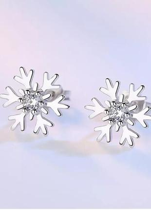 Серьги-гвоздики снежинки серебро 925