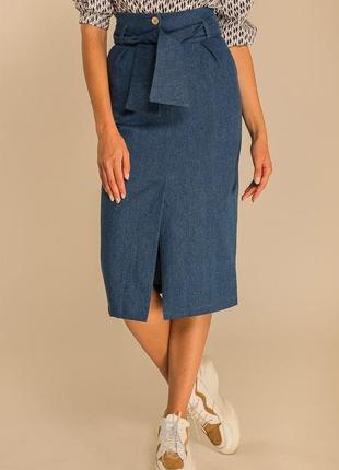 Джинсовая плотная юбка карандаш