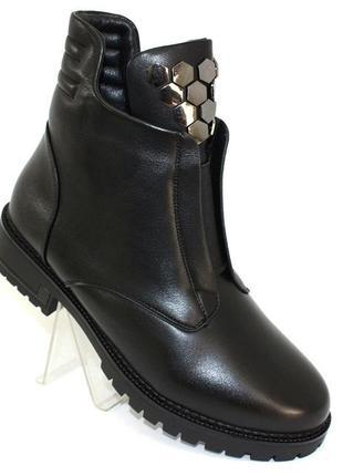 Женские зимние черные короткие ботинки низкий каблук
