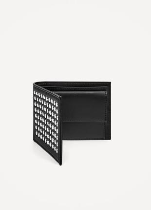 Бумажник с заклепками zara man ! черный кошелек