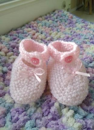 Нежно розовые пинетки туфельки носочки на малышку чопики