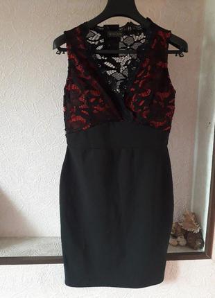 Женское вечернее нарядное кружевное черное платье футляр клубн...