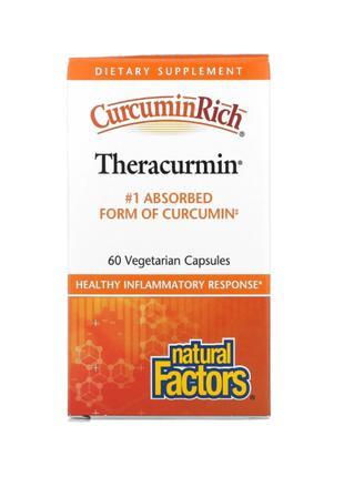 Natural Factors, CurcuminRich, Theracurmin, Куркумин, 60 шт