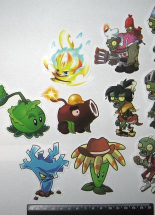 Наклейки Растения против Зомби. Plants vs Zombies. 10 шт.