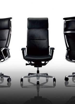 Кресло для Руководителя OKAMURA DUKE высокая спинка, черная кожа