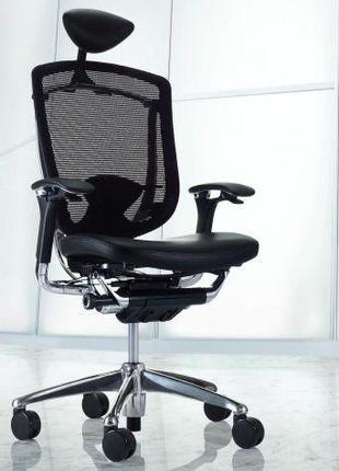 Кресло руководителя Okamura Contessa Black сетка/кожа