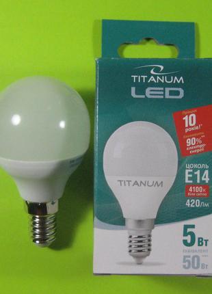Лампа светодиодная Titanum 5W E14 4100K (сфера)