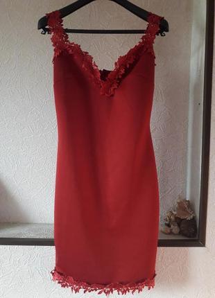 Красное вечернее нарядное платье футляр коктейльное клубное  к...