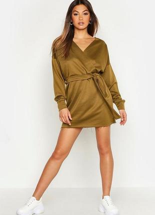 Платье-свитшот оверсайз хаки, свитер на запах верх, спортивное...