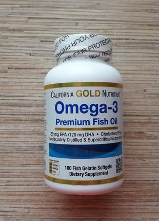California Gold Nutrition, Омега-3, рыбий жир, 100 капс, Америкf
