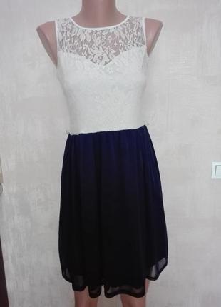 Красивое нежное платье с гипюровым верхом