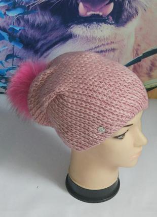 Теплая шапка на флисе с меховым бубоном,monleo