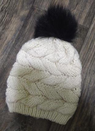 Шапка теплая, вязанная, осень- зима, женская