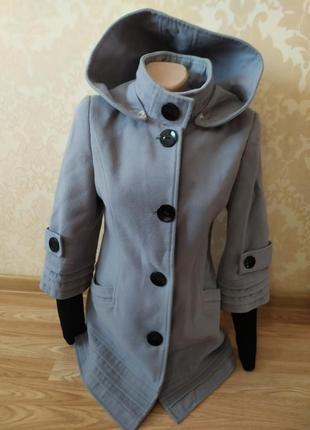 Пальто теплое, драп, капюшон, холодная весна, осень, s- xs