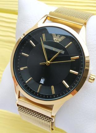 Наручные часы на сетчатом браслете с магнитным замком, золотые...